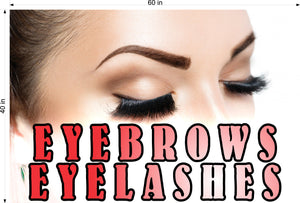 Eyebrows 12 Perforated Mesh One Way Vision See-Through Window Vinyl Salon Sign Eyelashes Horizontal