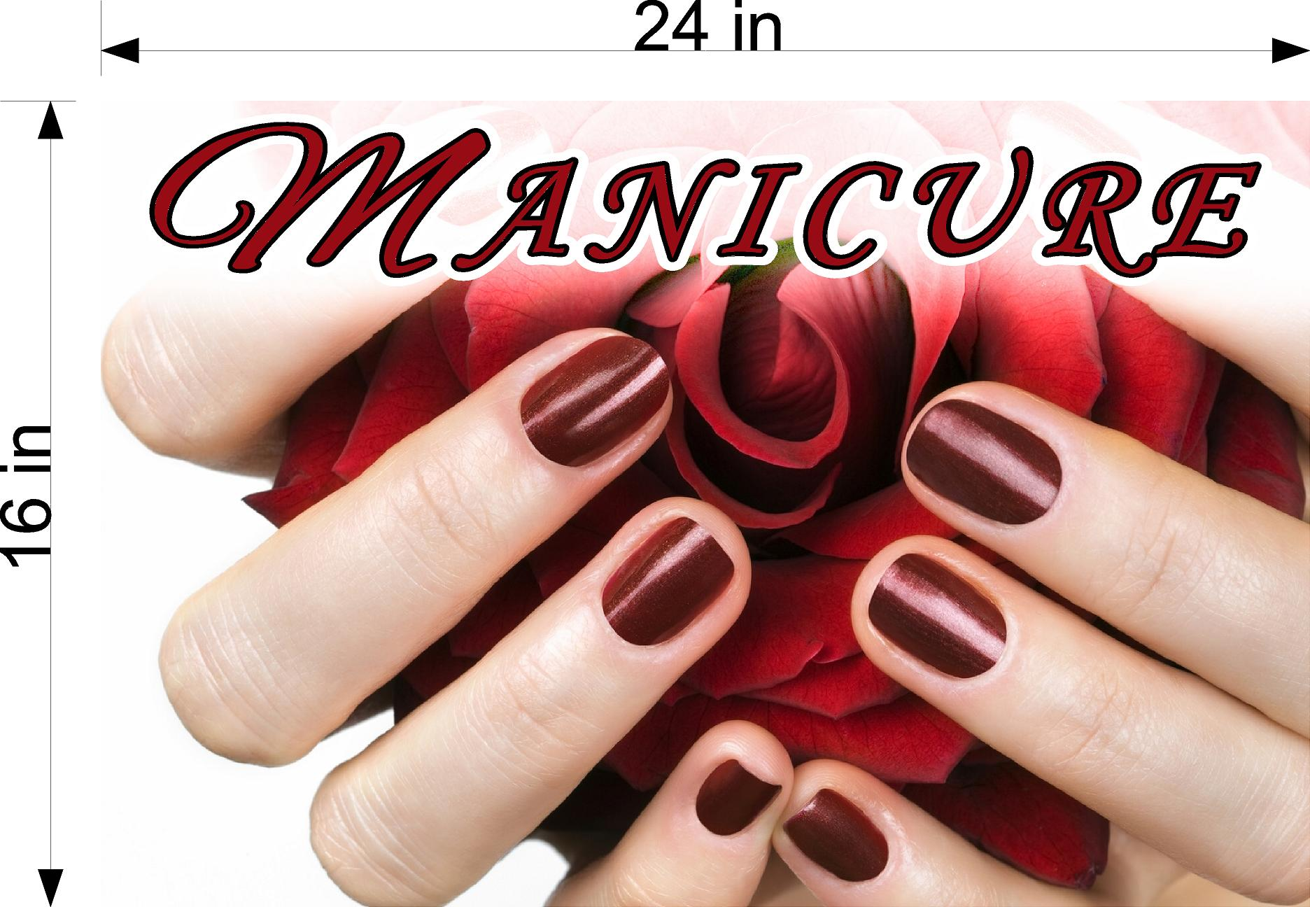 Manicure 24 Perforated Mesh One Way Vision See-Through Window Vinyl Nail Salon Sign Horizontal
