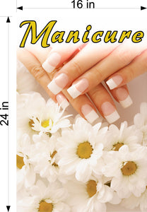 Manicure 28 Perforated Mesh One Way Vision See-Through Window Vinyl Nail Salon Sign Vertical