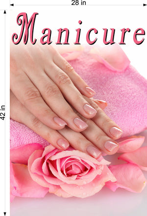 Manicure 27 Perforated Mesh One Way Vision See-Through Window Vinyl Nail Salon Sign Vertical