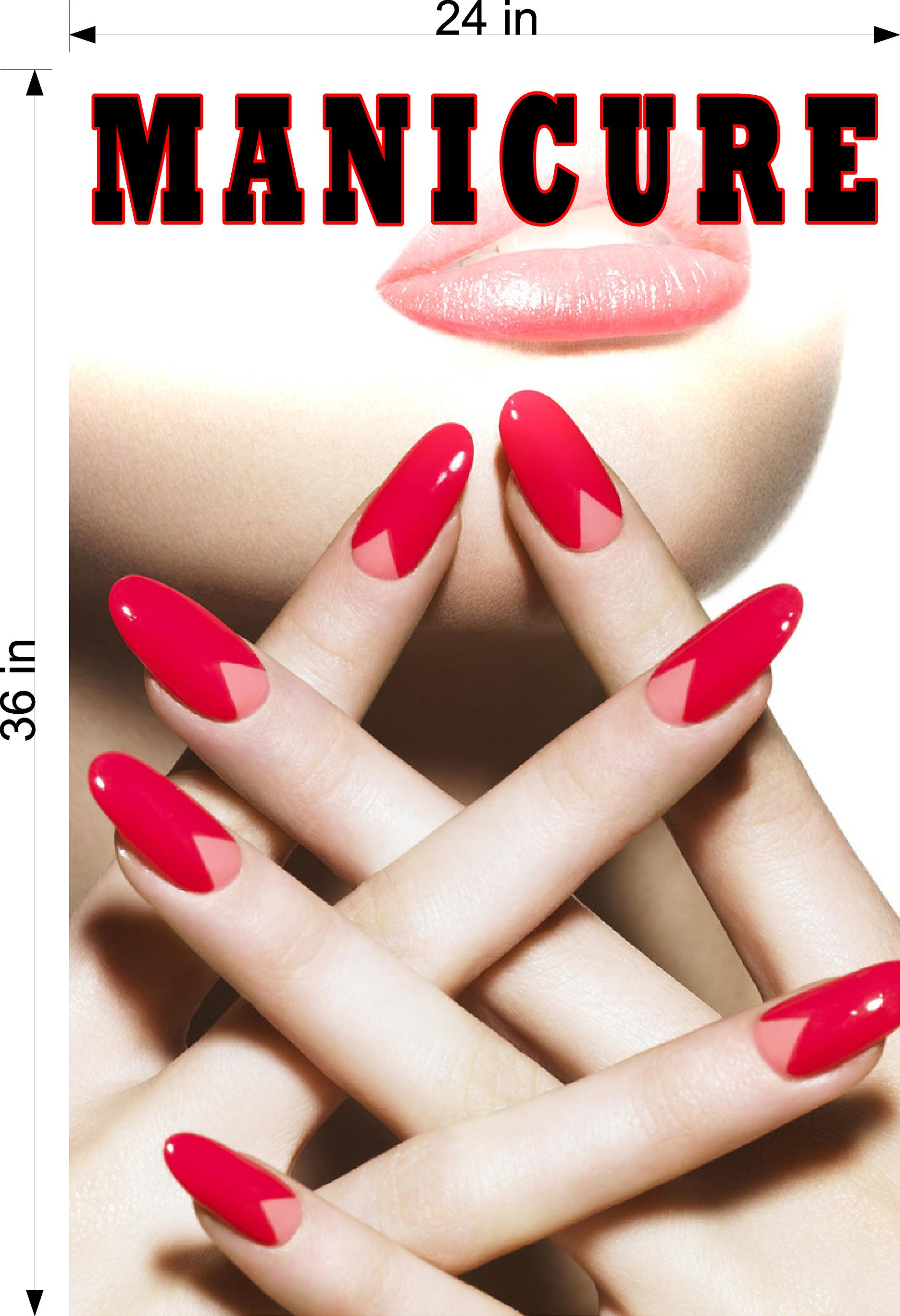 Manicure 14 Perforated Mesh One Way Vision See-Through Window Vinyl Nail Salon Sign Vertical