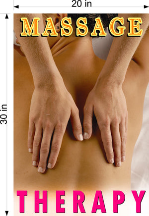 Massage 07 Photo-Realistic Paper Poster Matte Interior Inside Wall Window Non-Laminated Sign Therapy Back Body Foot Vertical