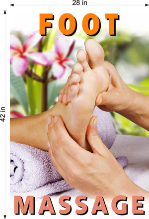 Massage 05 Photo-Realistic Paper Poster Matte Interior Inside Wall Window Non-Laminated Sign Therapy Back Body Foot Vertical