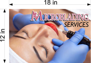 Microblading 18 Wallpaper Fabric Poster with Adhesive Backing Wall Interior Services Permanent Makeup Tattoo Horizontal