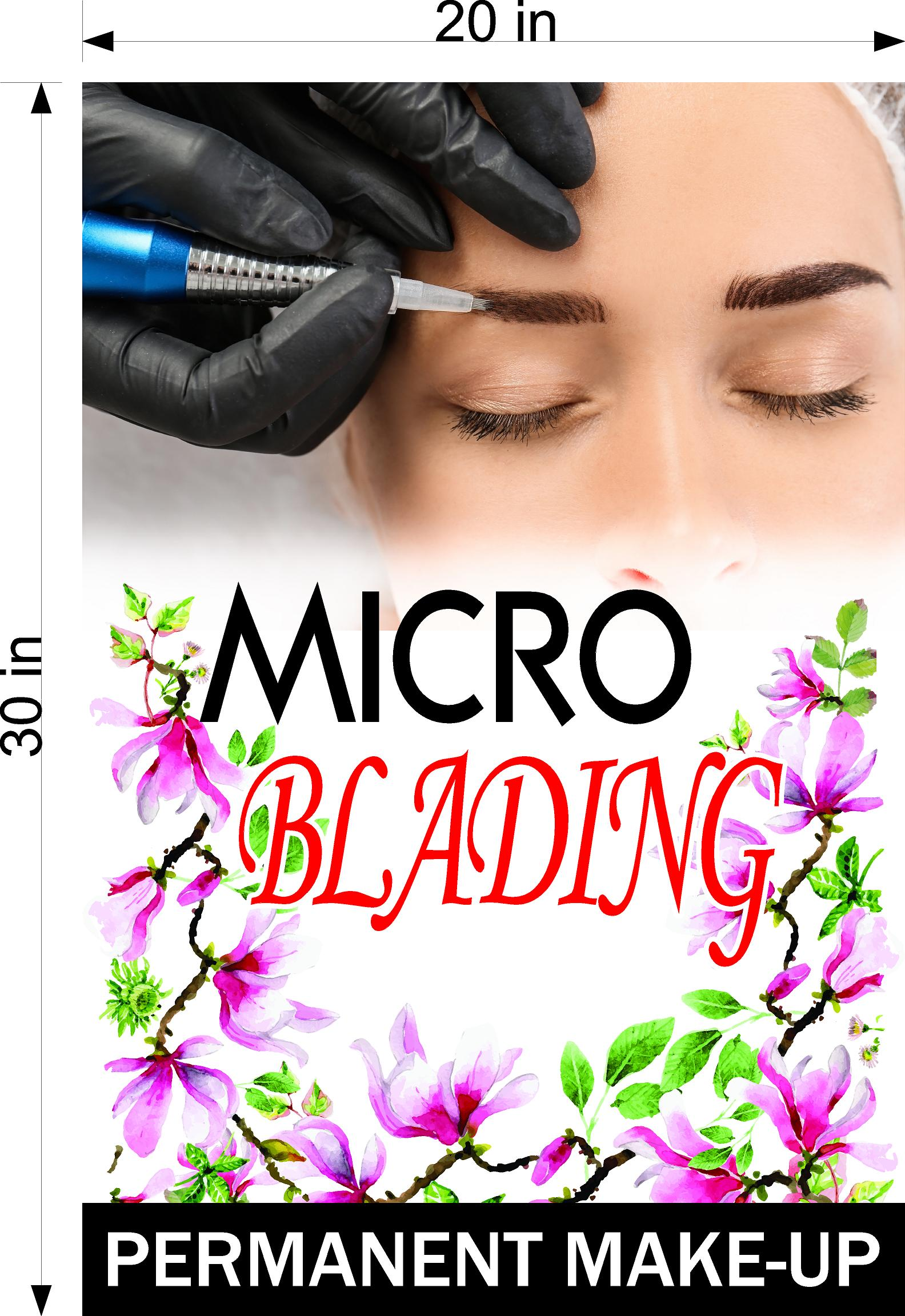 Microblading 11 Perforated Mesh One Way Vision See-Through Window Vinyl Salon Services Permanent Make-Up Tattoo Vertical