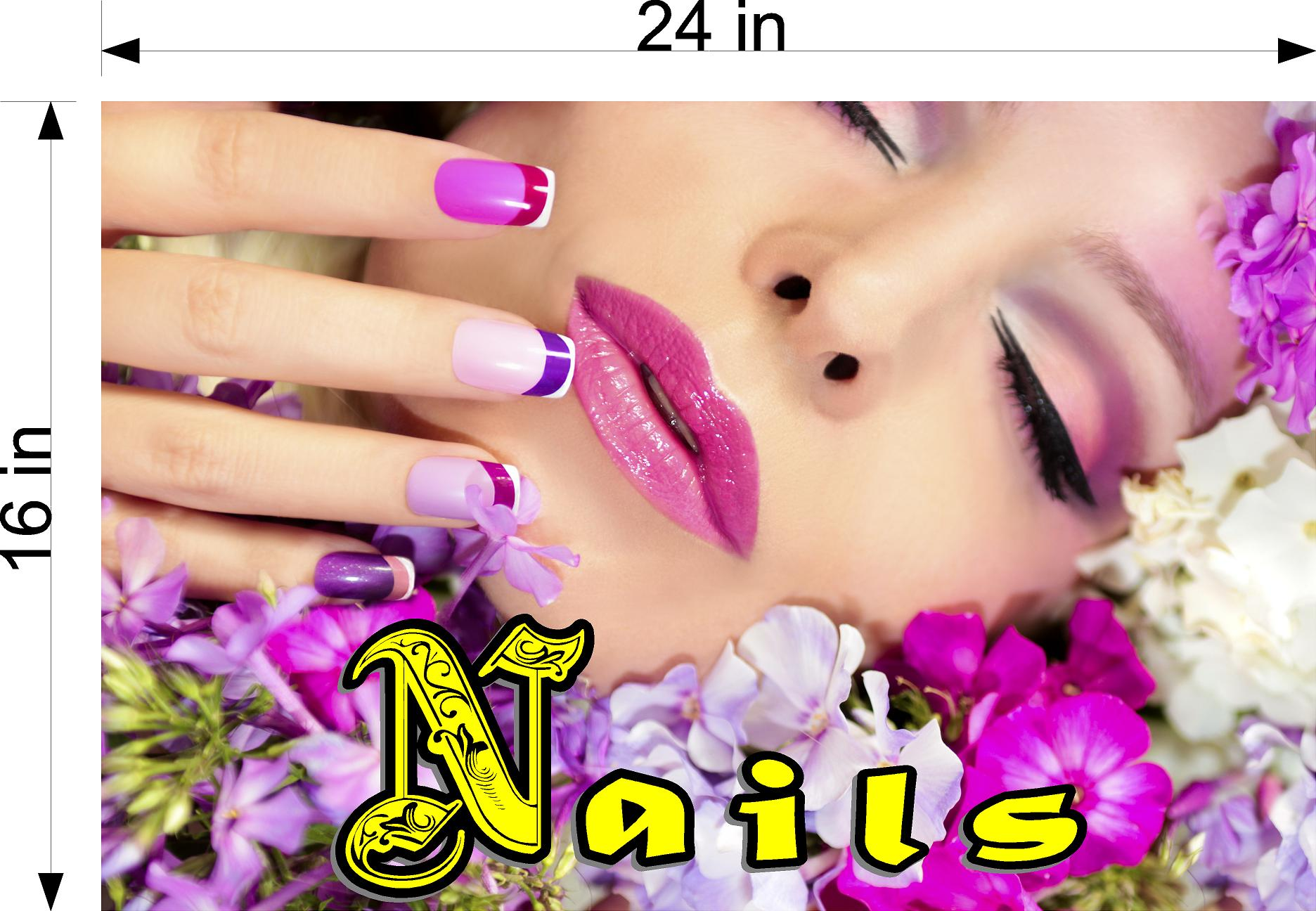 Nails 18 Perforated Mesh One Way Vision See-Through Window Vinyl Salon Sign Horizontal