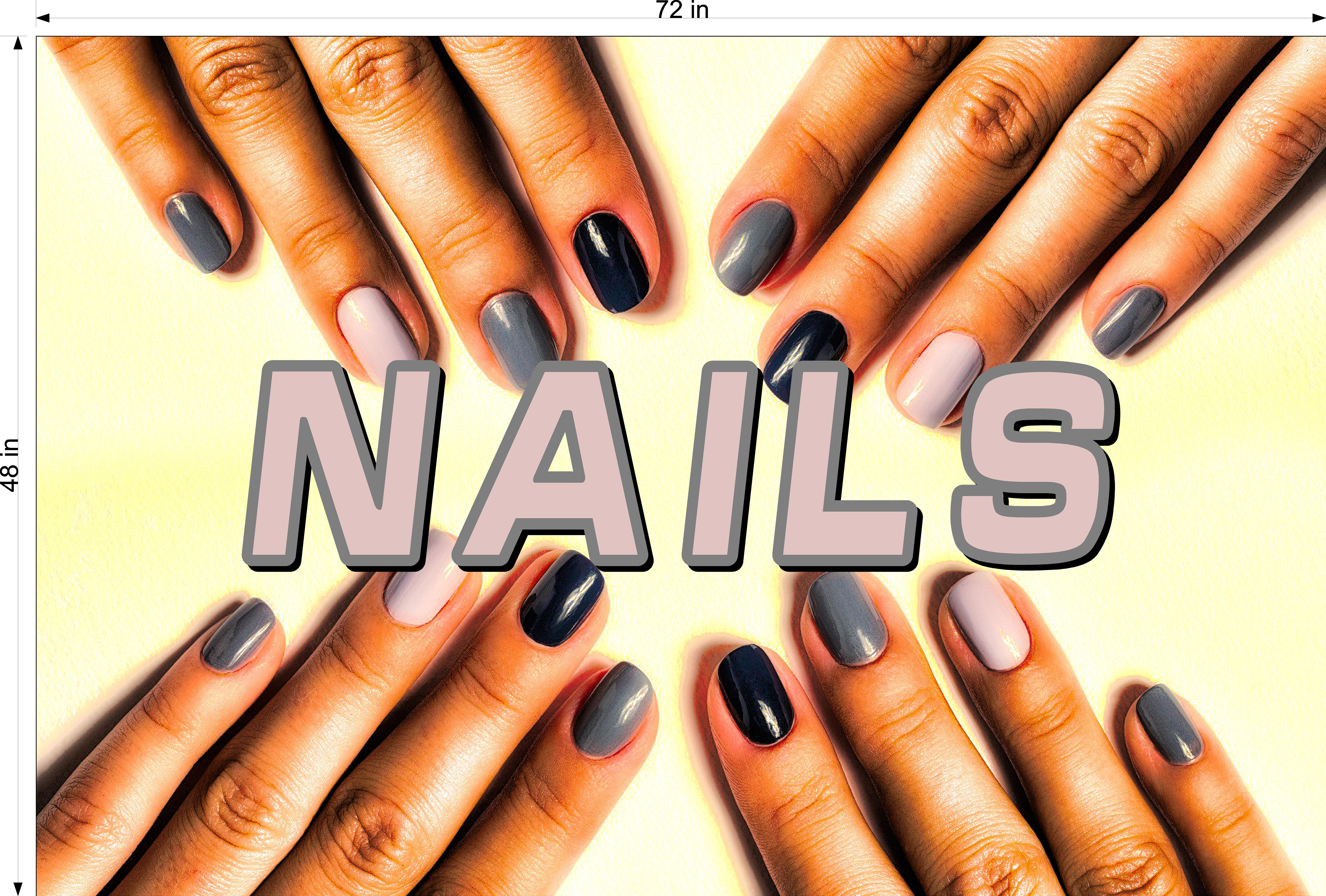 Nails 12 Perforated Mesh One Way Vision See-Through Window Vinyl Salon Sign Horizontal
