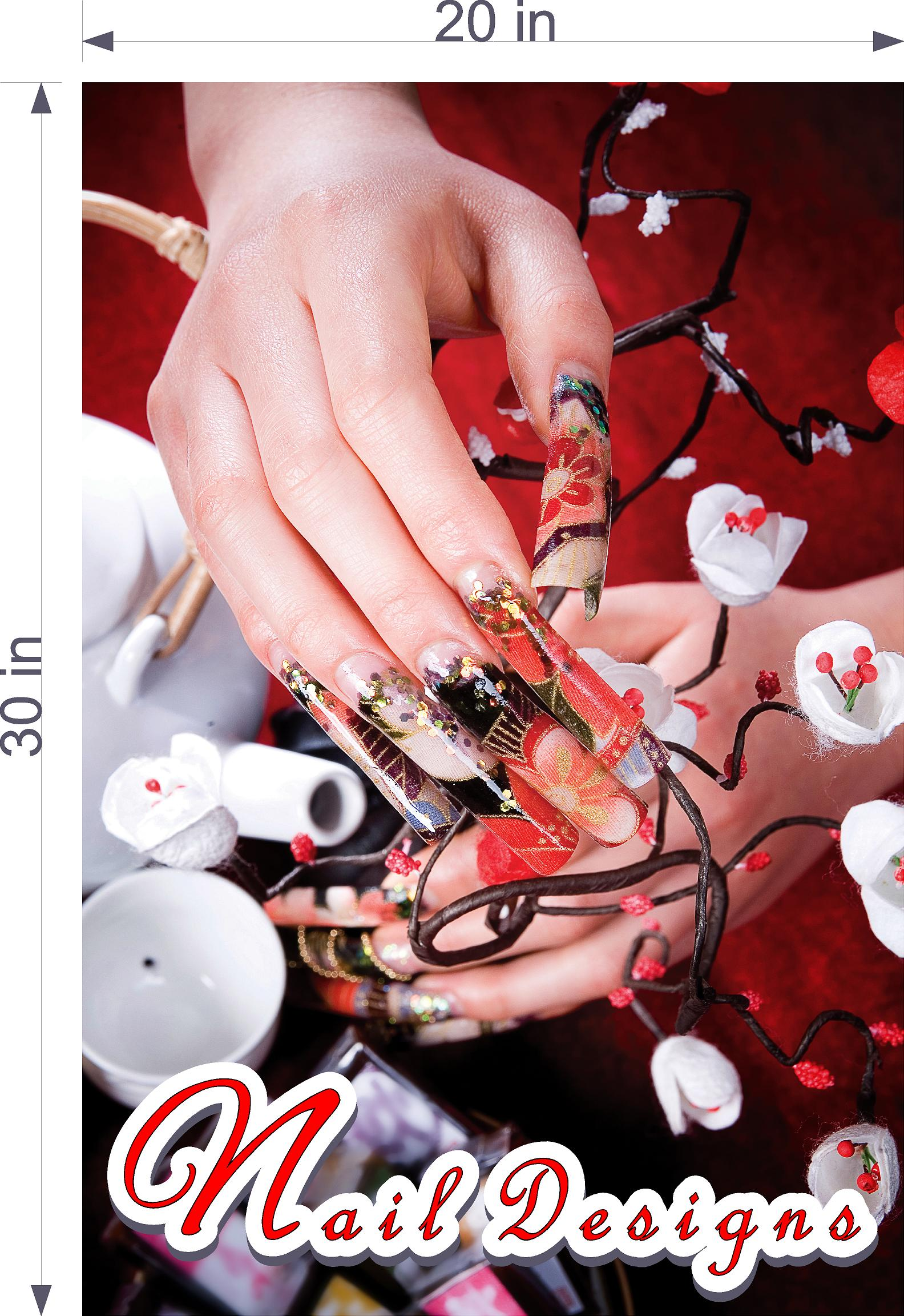 Nail Designs 05 Photo-Realistic Paper Poster Premium Matte Interior Inside Sign Advertising Marketing Wall Window Non-Laminated Vertical