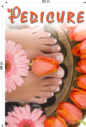Pedicure 25 Wallpaper Fabric Poster Decal with Adhesive Backing Wall Sticker Decor Indoors Interior Sign Vertical