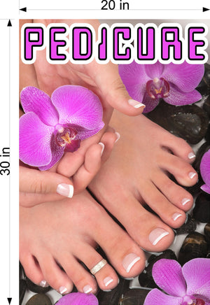Pedicure 13 Perforated Mesh One Way Vision See-Through Window Vinyl Nail Salon Sign Vertical
