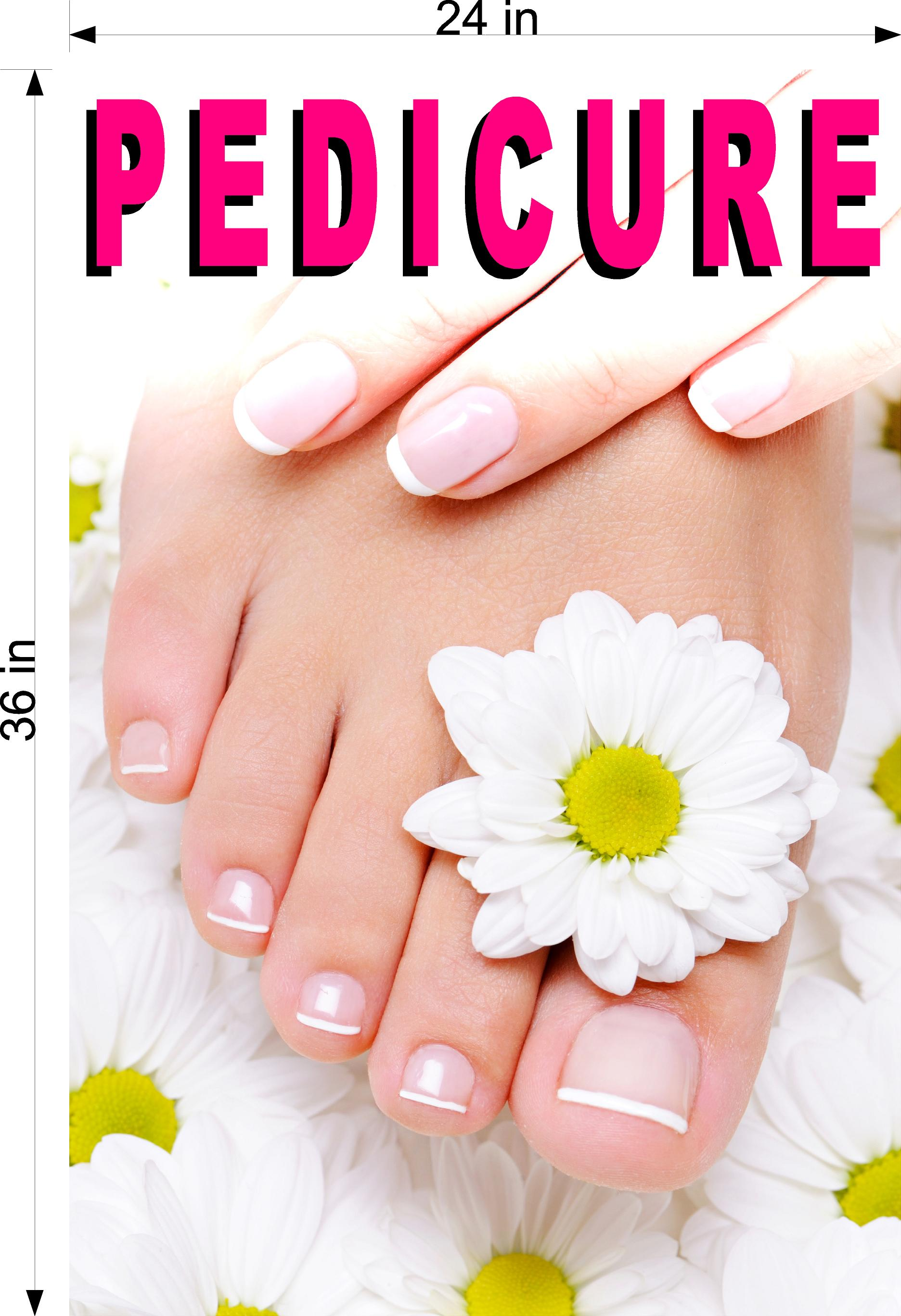 Pedicure 06 Perforated Mesh One Way Vision See-Through Window Vinyl Nail Salon Sign Vertical
