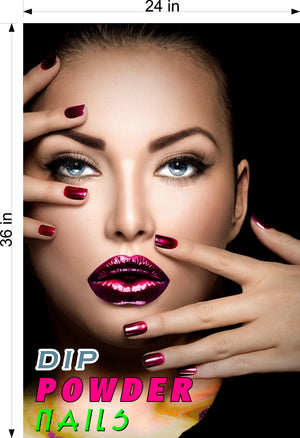 Dip Powder 02 Perforated Mesh One Way Vision See-Through Window Vinyl Nail Salon Sign Vertical