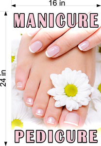 Pedicure & Manicure 15 Perforated Mesh One Way Vision Window Vinyl Nail Salon See Through Sign Vertical