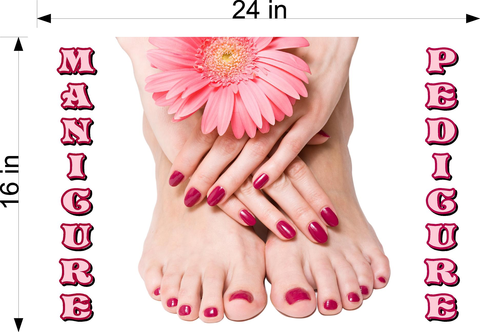 Pedicure & Manicure 12 Perforated Mesh One Way Vision See-Through Window Vinyl Nail Salon Sign Horizontal