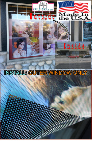 Salon 01 Perforated Mesh One Way Vision See-Through Window Vinyl SNS Dipping Powder Nail Salon Sign Vertical