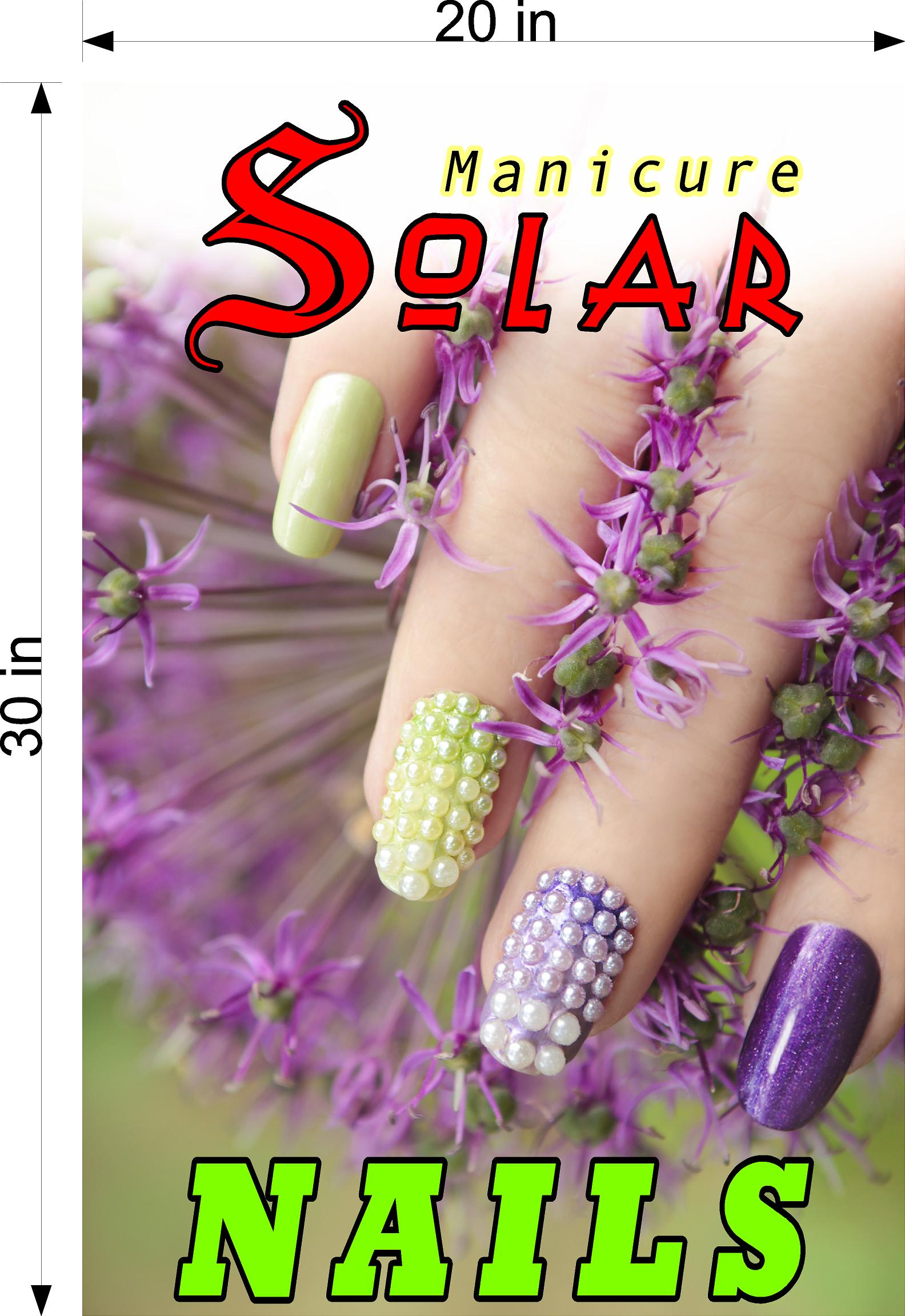 Solar 03 Perforated Mesh One Way Vision See-Through Window Vinyl Nail Salon Sign Vertical