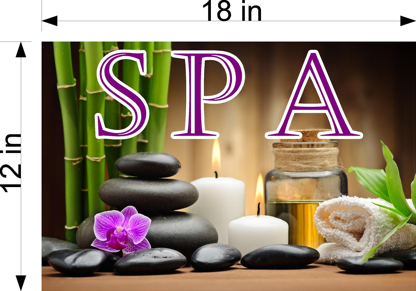 Spa 10 Wallpaper Poster Decal with Adhesive Backing Wall Sticker Decor Indoors Interior Sign Horizontal