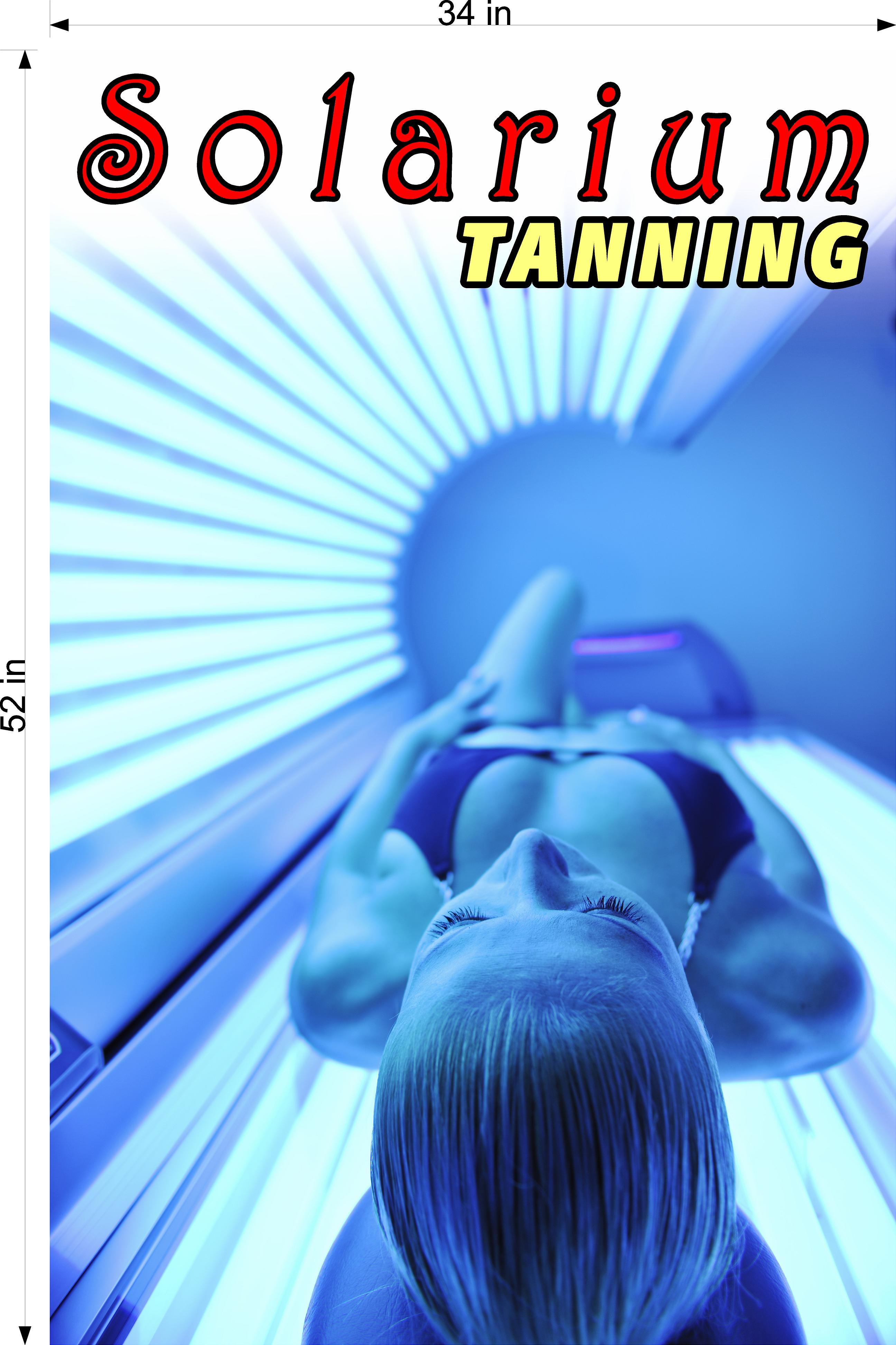 Tanning 02 Wallpaper Poster Decal with Adhesive Backing Wall Sticker Decor Interior Sign Spray Service Solarium Vertical