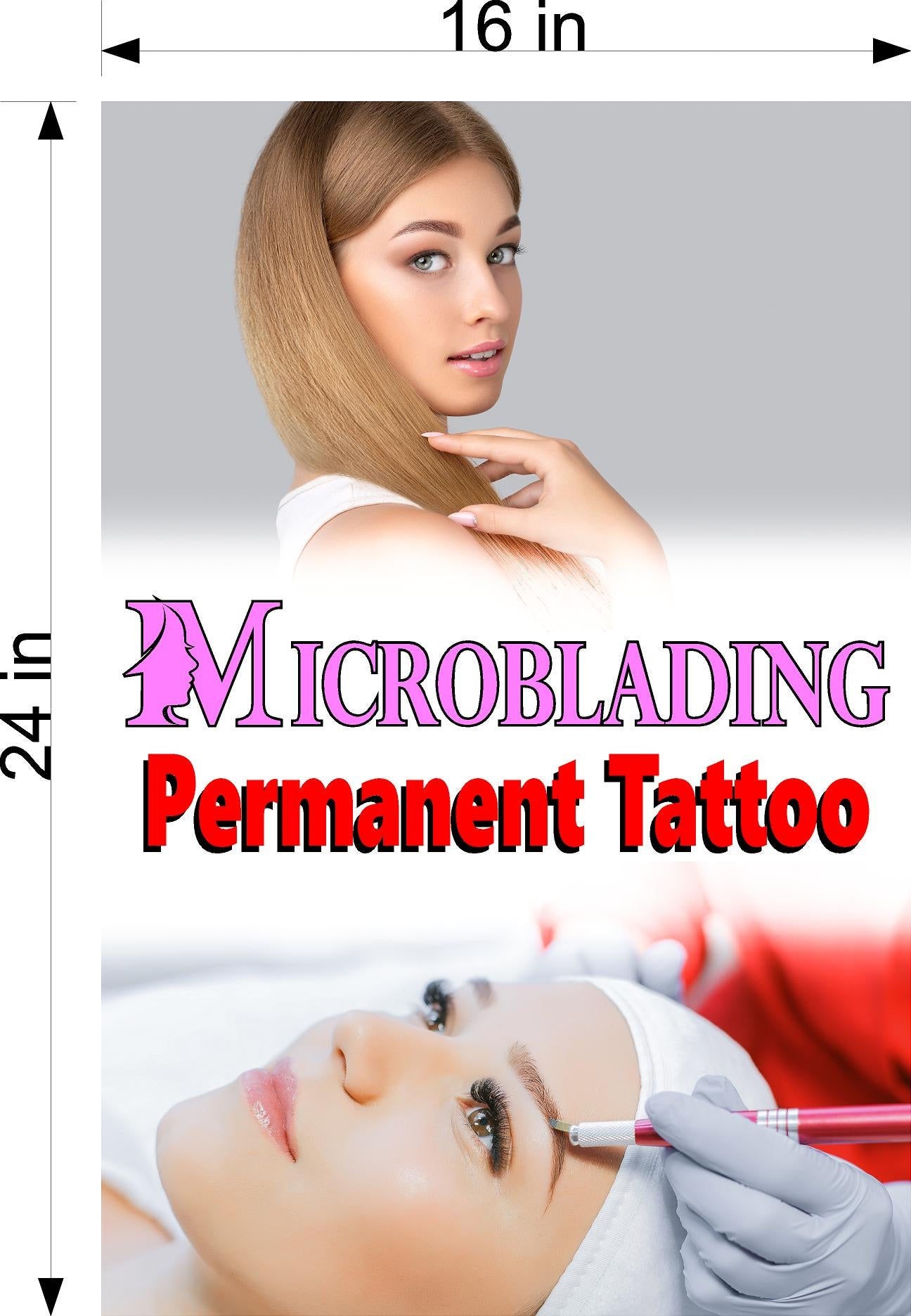 Microblading 14 Wallpaper Fabric Poster with Adhesive Backing Wall Interior Services Permanent Makeup Tattoo Vertical