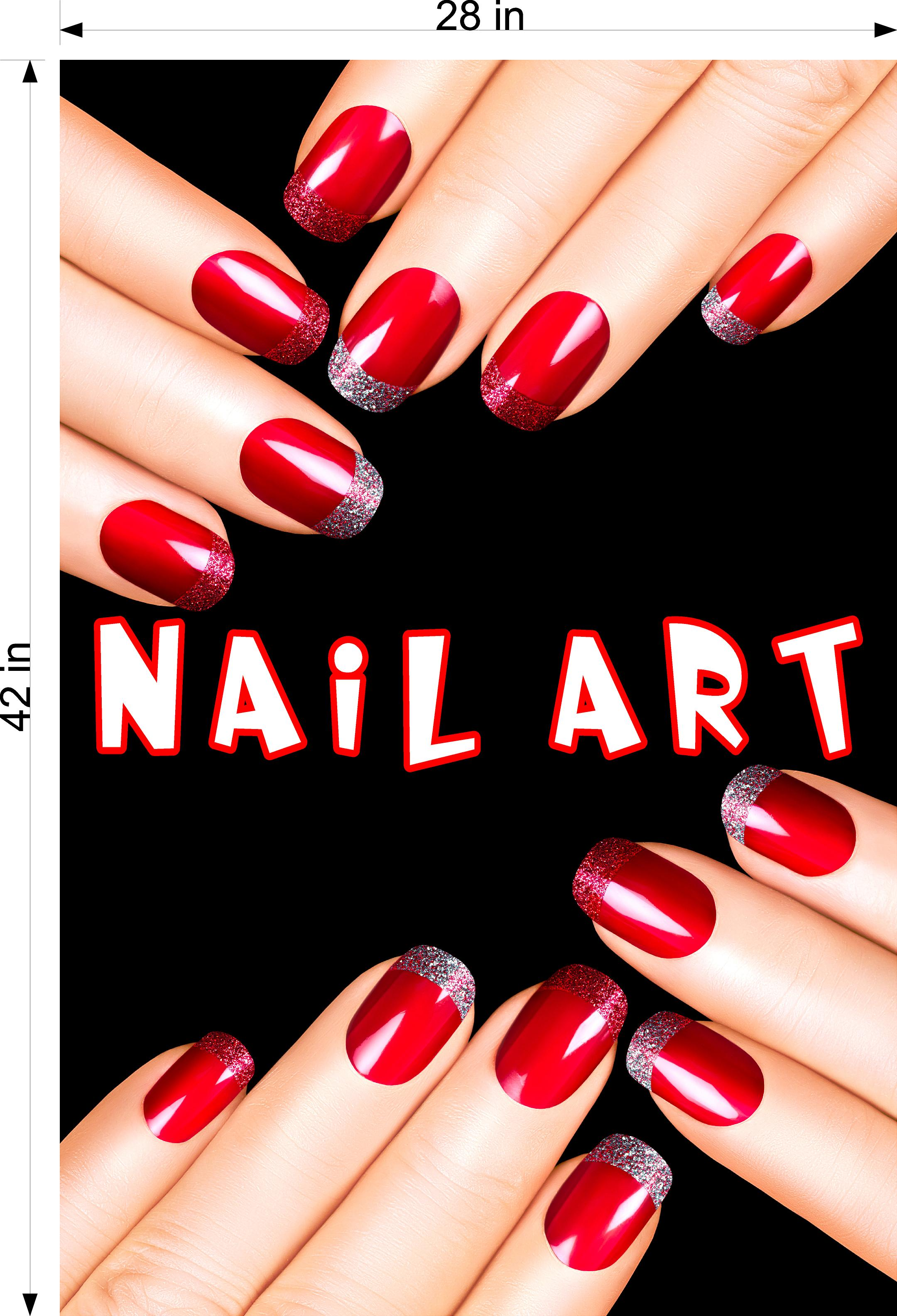 Nail Art 07 Perforated Mesh One Way Vision See-Through Window Vinyl Salon Sign Vertical