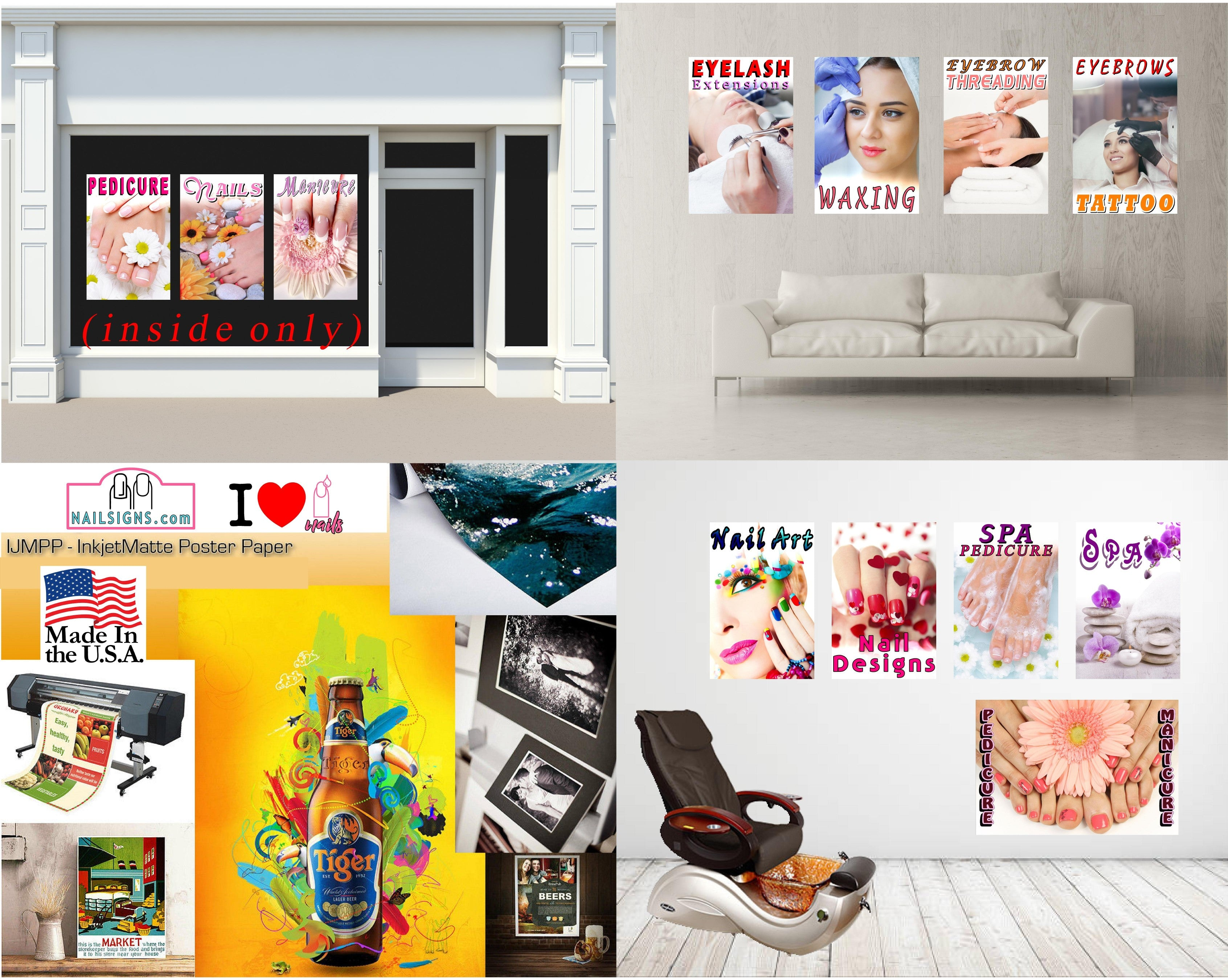 Pedicure & Manicure 10 Photo-Realistic Paper Poster Premium Matte Interior Inside Sign Adverting Marketing Wall Window Non-Laminated Vertical