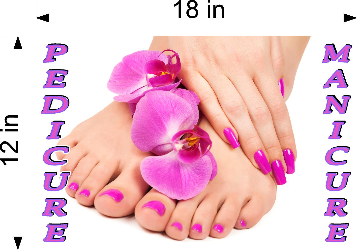 Pedicure & Manicure 19 Wallpaper Fabric Poster Decal with Adhesive Backing Wall Sticker Decor Indoors Interior Sign Horizontal