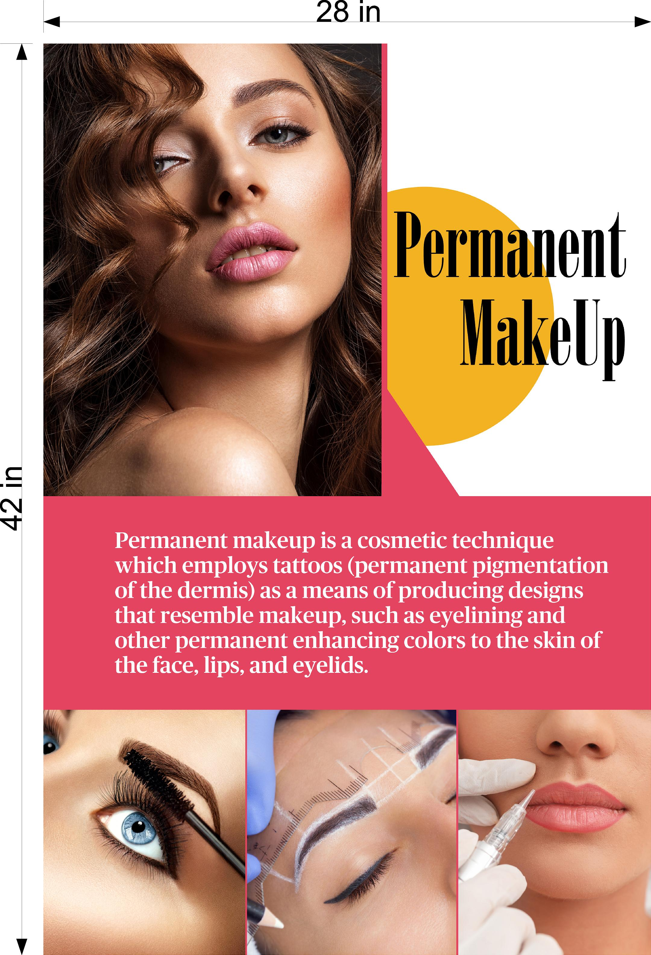 Permanent 27 Photo-Realistic Paper Poster Premium Matte Interior Inside Sign Wall Window Non-Laminated Makeup Eyebrows Lip Eyeliner Microblading Vertical