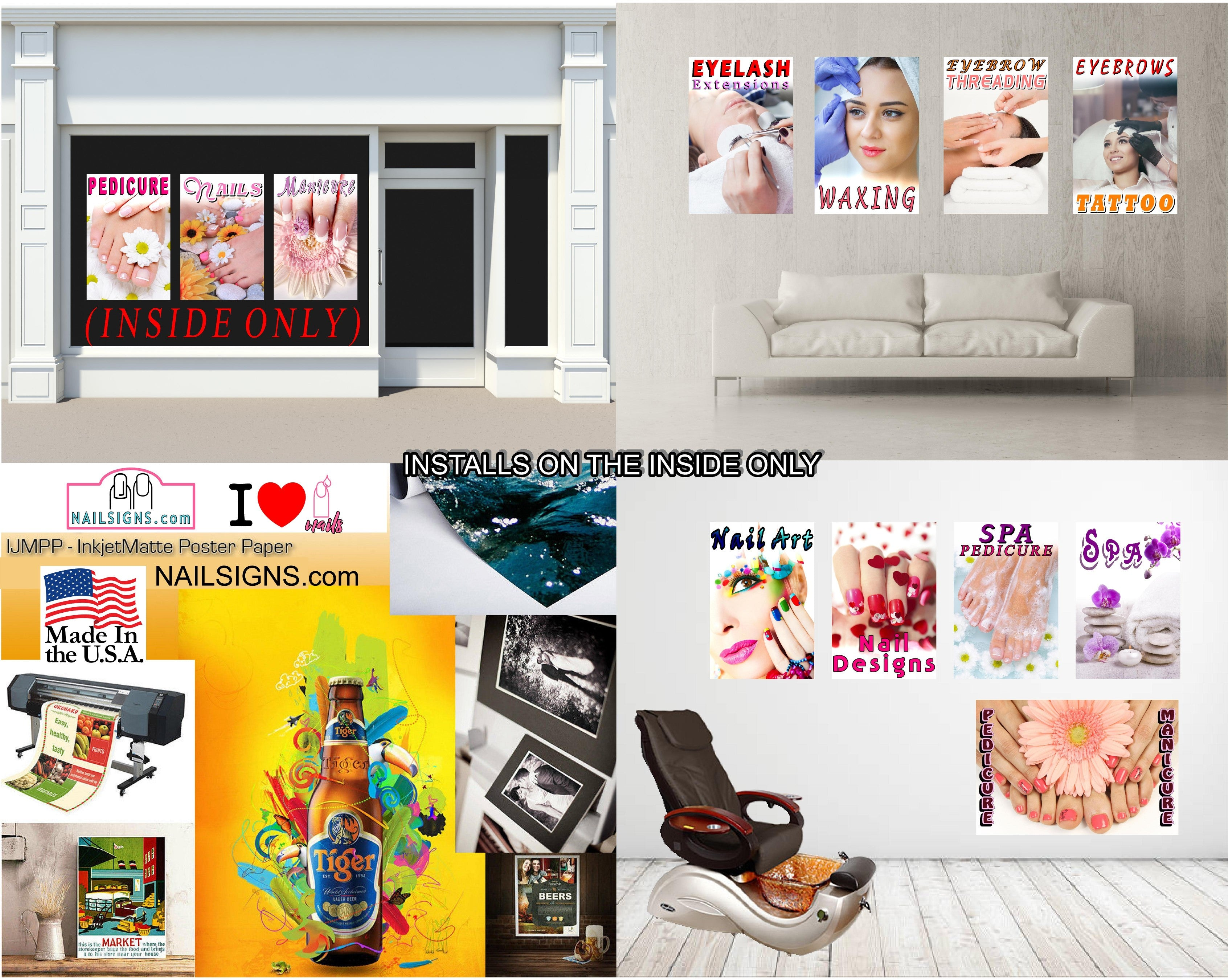 Permanent 14 Photo-Realistic Paper Poster Premium Matte Interior Inside Sign Wall Window Non-Laminated Makeup Eyebrows Lip Eyeliner Microblading Vertical