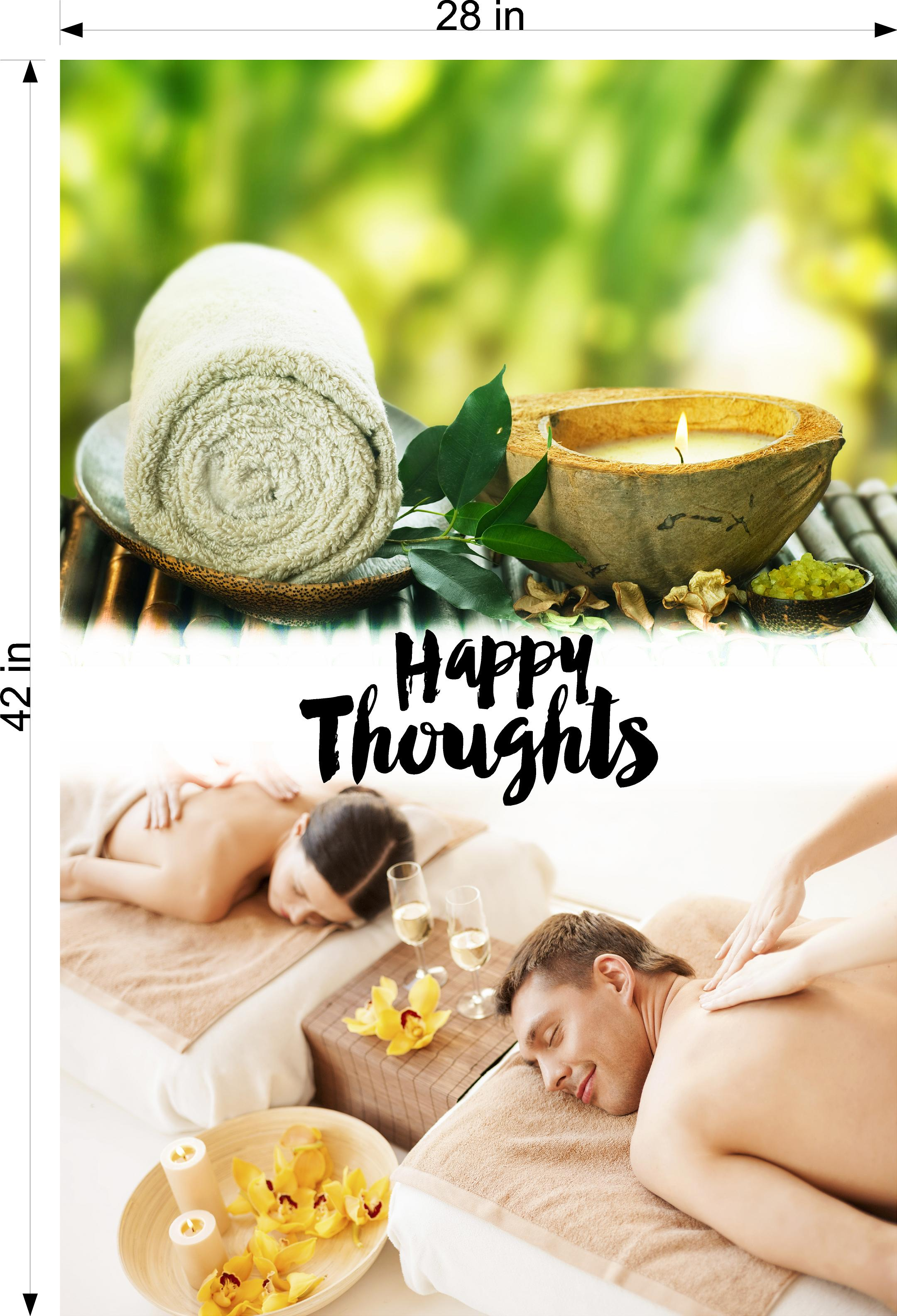 Quote 30 Photo-Realistic Paper Poster Matte Interior Inside Sign Wall Window Non-Laminated Happy Thoughts Vertical