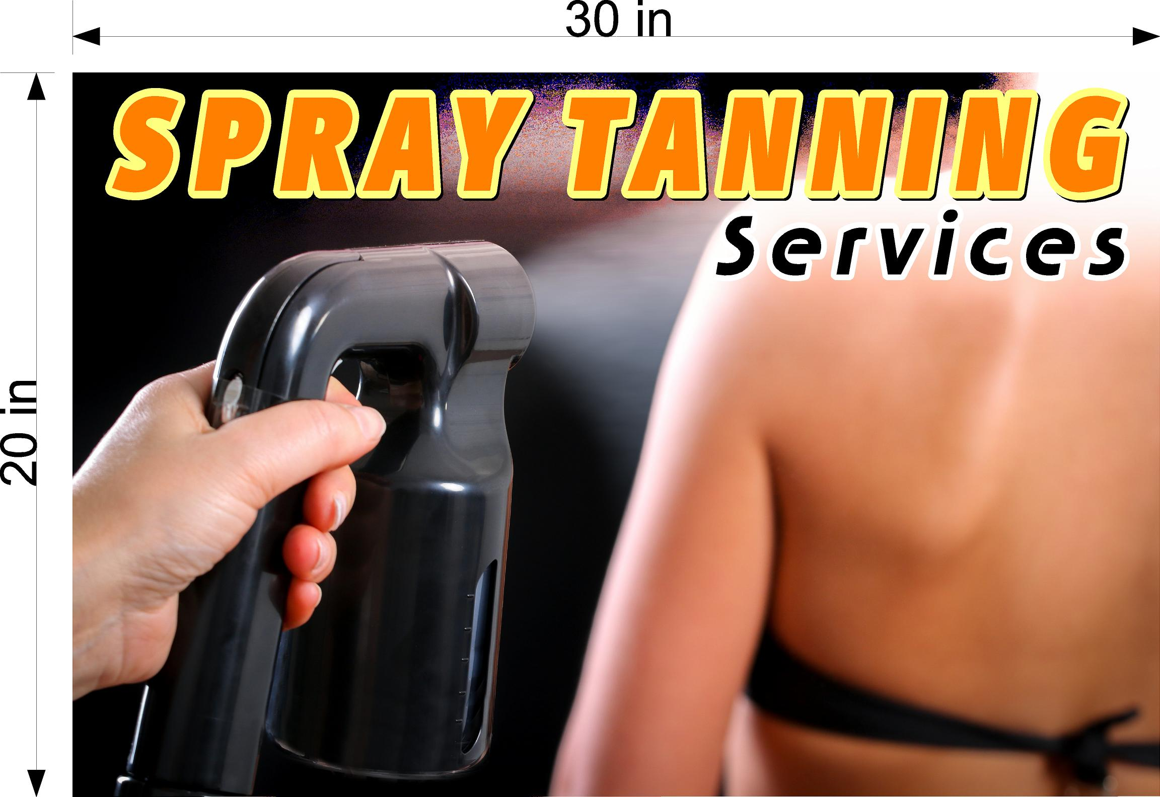 Tanning 08 Perforated Mesh One Way Vision Window Vinyl Nail Salon See-Through Sign Solarium Spray Sun Horizontal