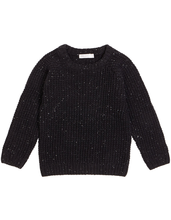 Miles Baby - Black Marble Knit Sweater Size 3m-7