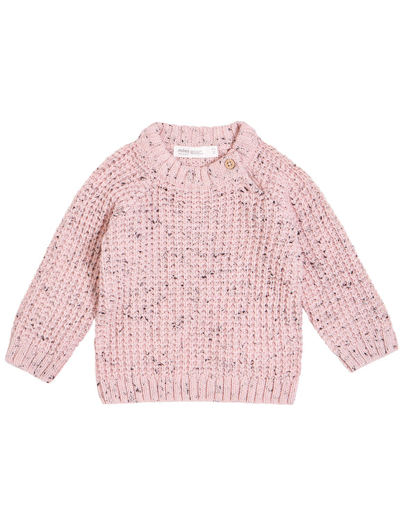 Miles Baby - Marble Pink Knit Sweater Size 3m-7