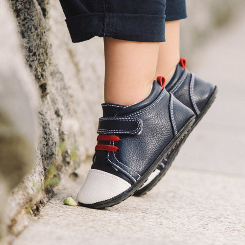 Jack and Lily - Navy Leather Kicks (0-6m)