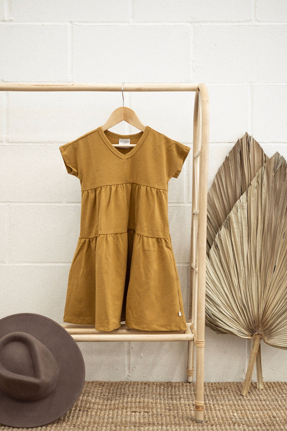 Jax & Lennon - Mustard Double Ruffle Dress 4-7y