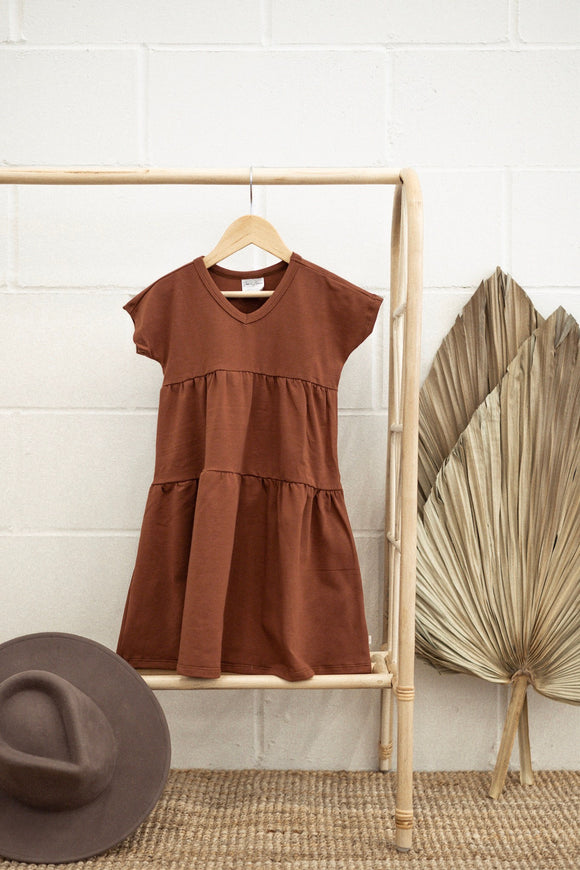 Jax & Lennon - Rust Double Ruffle Dress 2-7y