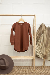 Jax & Lennon - Rust Terry Sweater Dress 2-7y