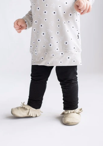 Tiny Button - Black Leggings 1-7T
