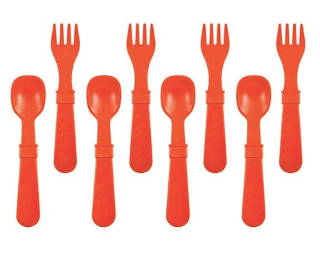 Replay - Red Utensils (4 spoons, 4 forks)