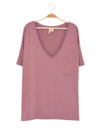 Kyte - Ladies Relaxed Fit VNeck Mulberry XS