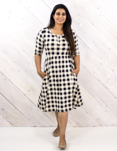 Little & Lively - Plaid Clementine Ladies Dress M