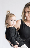 Tiny Button - Black Cardigan 2-7T