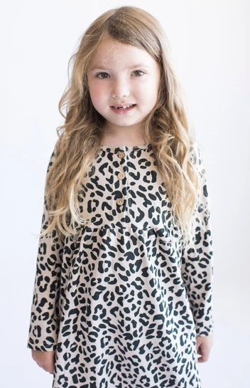 Tiny Button - Leopard Twirl Dress