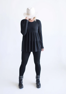 Tiny Button - Ladies Black Twirl Top COMING SOON