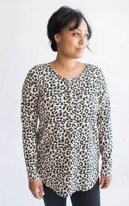 Tiny Button - Ladies Henley's (Black & Leopard) S