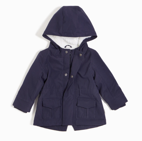 Miles Baby - Navy Sherpa Coat Size 3