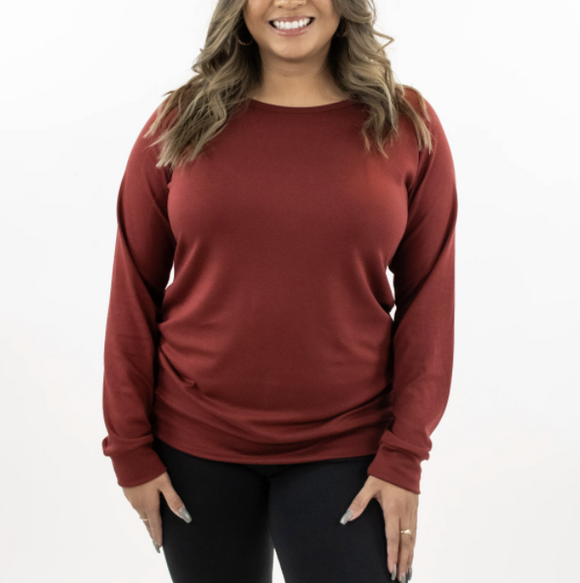 Little & Lively - Ladies Bamboo Pullover Cranberry