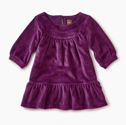 Tea - Cosmic Berry Velour Ruffle Dress Sizes 12-18m