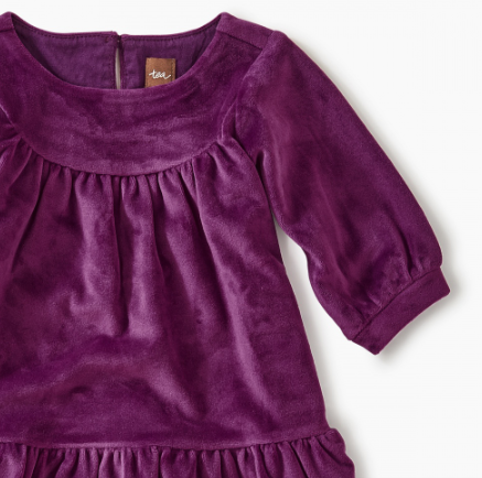Tea - Cosmic Berry Velour Ruffle Dress Sizes (6-9m) - 5