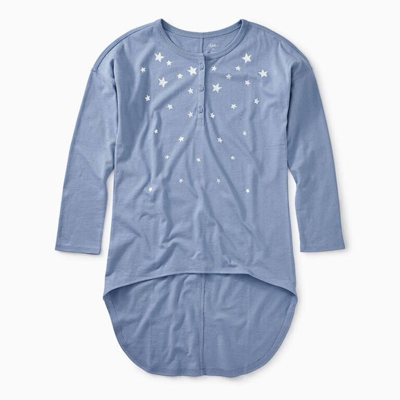 Tea - Metallic Star Hi-Lo Henley Top (Size 7-16)