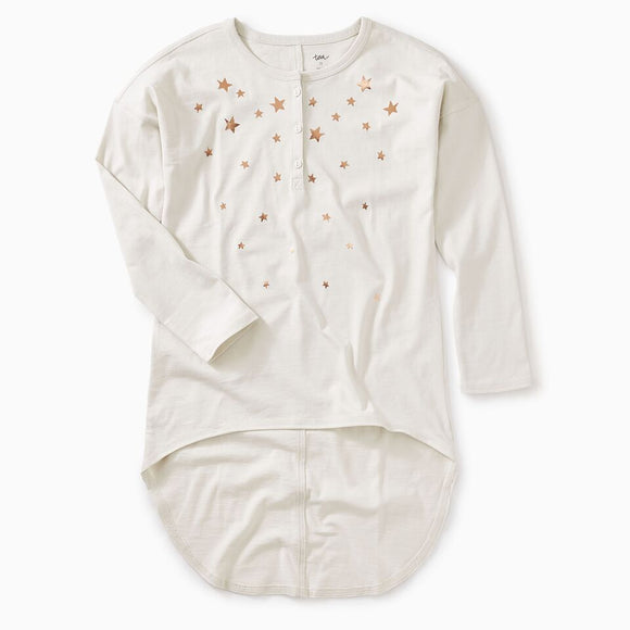 Tea - Metallic Star Henley Hi-Lo Top (Size 7-10)